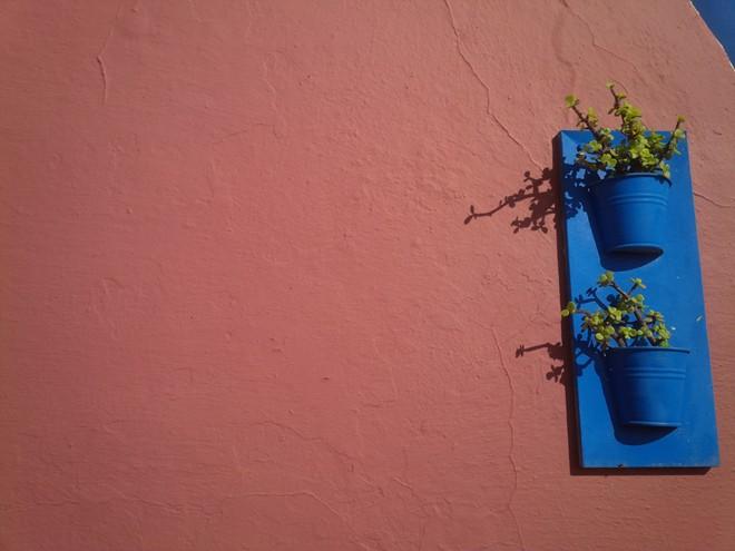9 Santorini flower pots on the wall