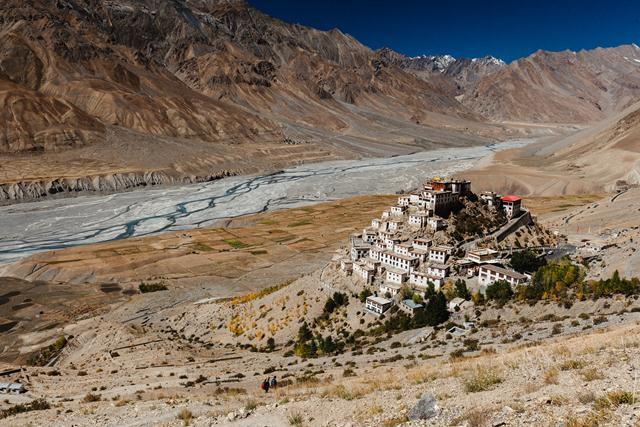 Key Gompa monastery located on the top of a hill at an altitude of 4,166 metres above sea level, in the Spiti Valley. Himachal Pradesh, India. 2014