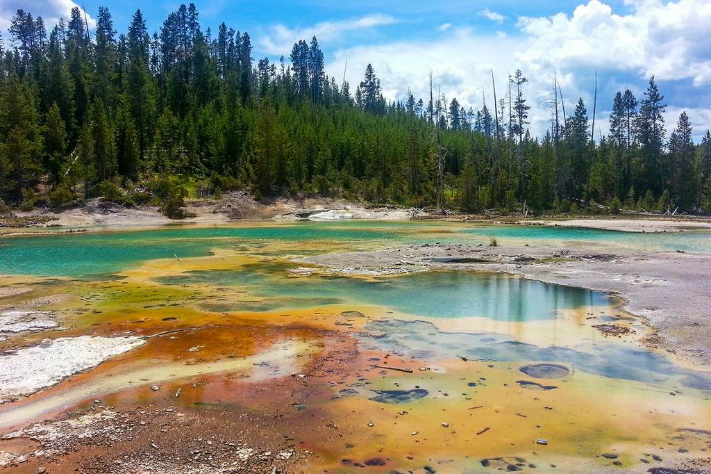 Steaming springs, colourful canyons and tangles of forest make Yellowstone National Park an otherworldly sight. Image courtesy of Wyoming Office of Tourism.