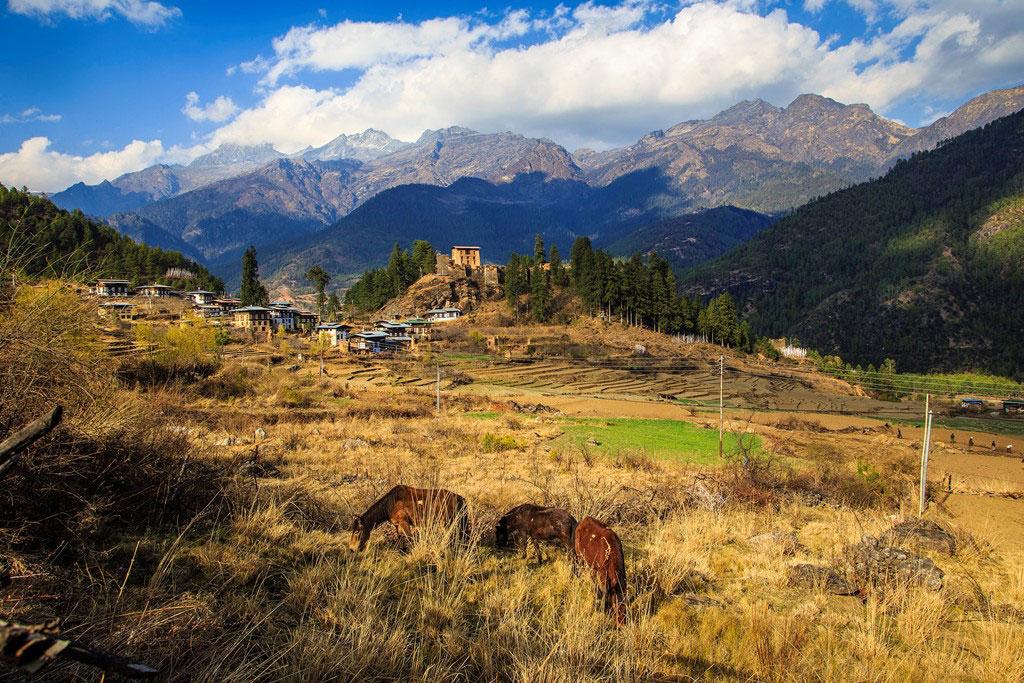 Drukgyel village fortress, one of the oldest villages Bhutan.