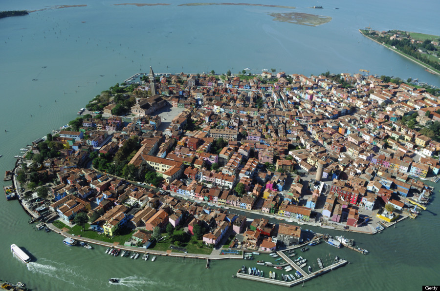Aerial view of Burano island