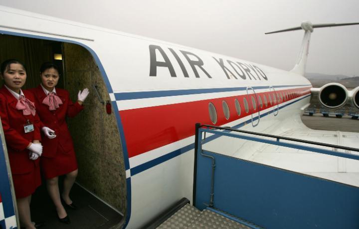 Cabin crew at on board an Air Koryo aircraft. Credit: GETTY