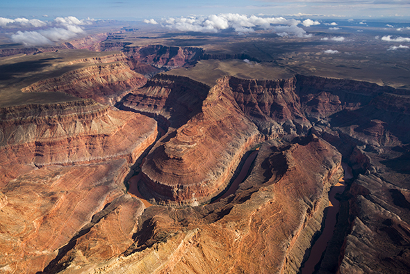 Aerial view of the Colorado River in the Grand Canyon - above Marble Canyon. Fedarko and McBride hiked much of the canyon in this image.