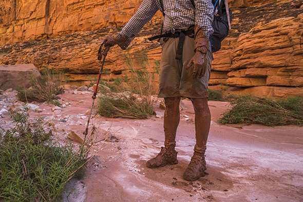 Writer Kevin Fedarko after falling into a bog in a slot canyon, Marble Canyon.