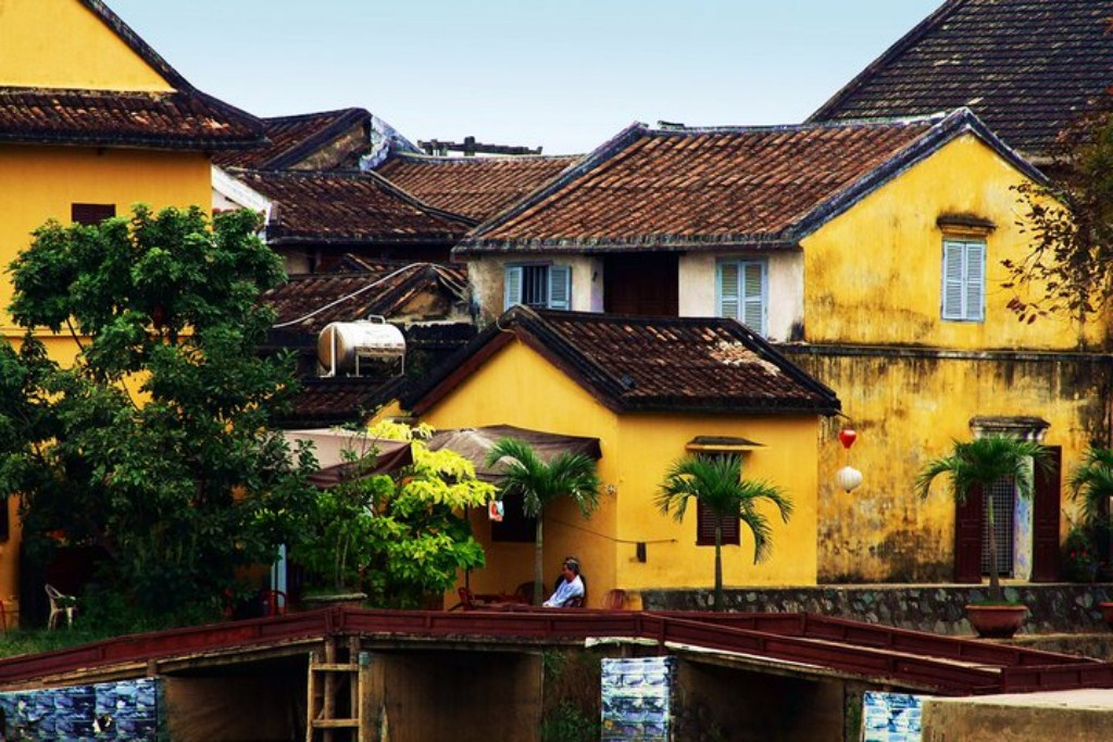 Hoi An ancient house with typical yellow walls