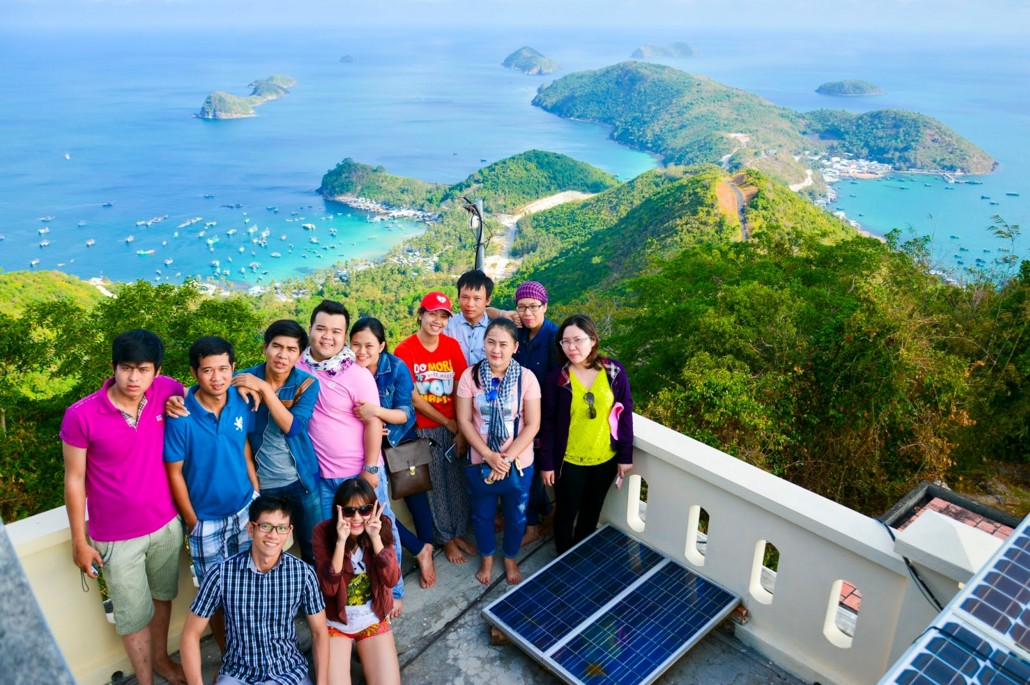 Tourist at the top of Nam Du lighthouse
