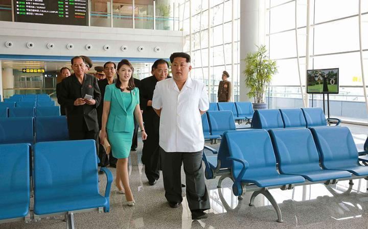 Kim Jong-un and his wife in the new terminal building at Pyongyang Airport. Credit: GETTY
