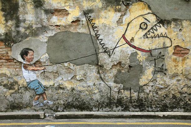 """Penang Street Art, """"Little Boy with Pet Dinosaur"""" Mural, Ah Quee Street, George Town, Penang"""
