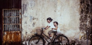 "Penang Street Art, ""Little Children on a Bicycle"" Mural, Armenian Street, George Town, Penang"