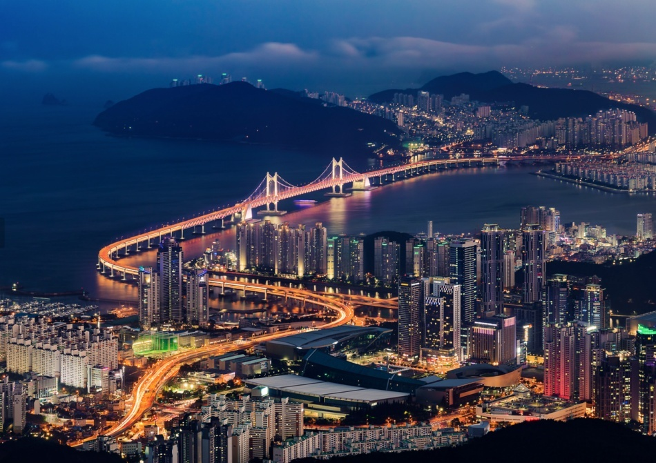 Aerial night view of Busan