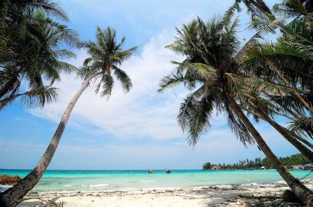 Calm and blue sea on Nam Du islands