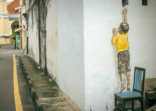 "Penang Street Art, ""Reaching Up"" Mural, Cannon Street, George Town, Penang"