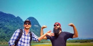 Director Jordan Vogt-Roberts (R) at the set of 'Kong: Skull Island' in Quang Binh, Vietnam, February 22, 2016. Instagram/voteroberts