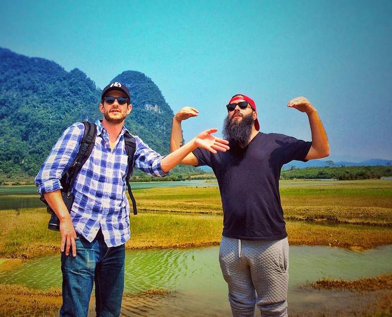 Director Jordan Vogt-Roberts (R) at the set of 'Kong: Skull Island' in Quang Binh, Vietnam, February 22, 2016. Instagram/voteroberts