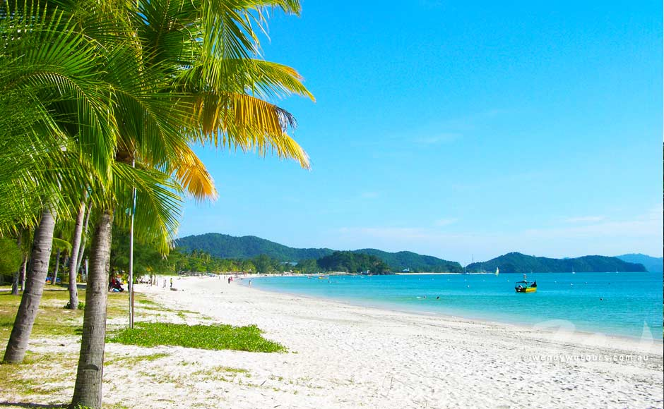 Langkawi white soft sand beach - tourist attraction