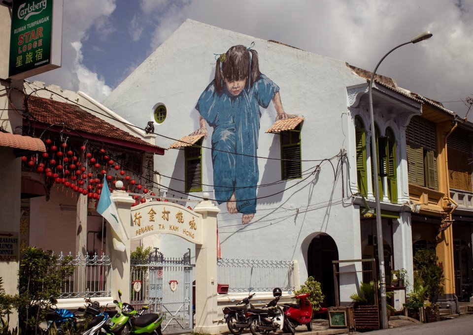 Finished wall painting at Muntre 47, George Town, Malaysia. Source: Ernest Zacharevic's official Facebook page.
