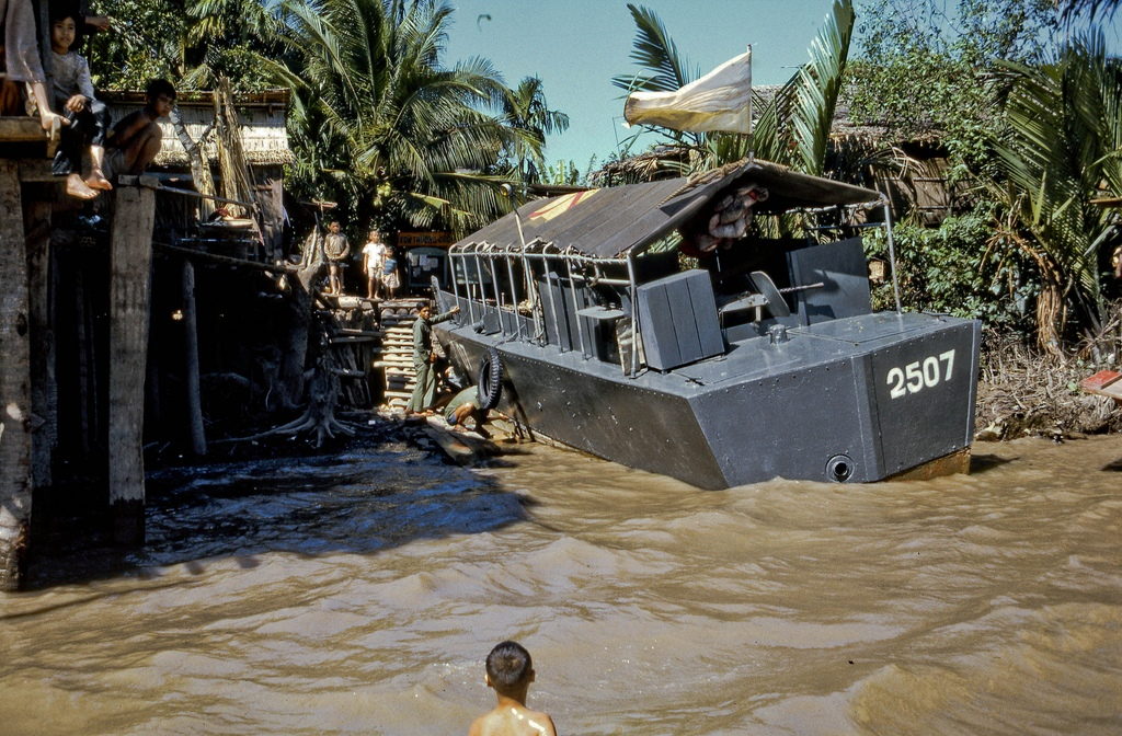 South Vietnamese war boat on the south shore of the Coconut Monks island in Vietnam's Mekong Delta near the city of My Tho.