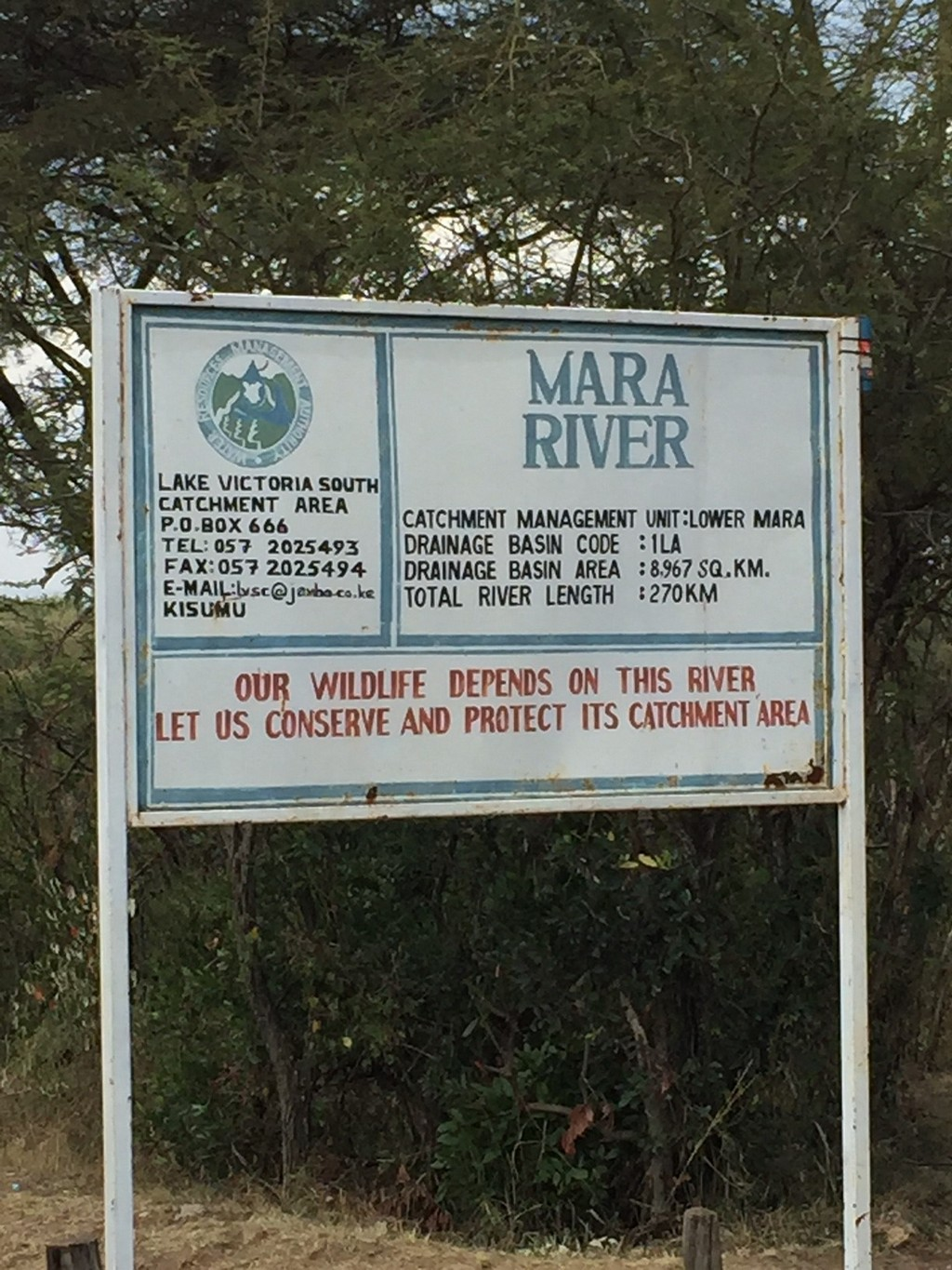 The Mara River sign, right on the border of Kenya and Tanzania