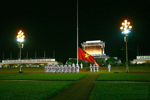 The lowering of the flag ceremony at President Ho Chi Minh's mausoleum