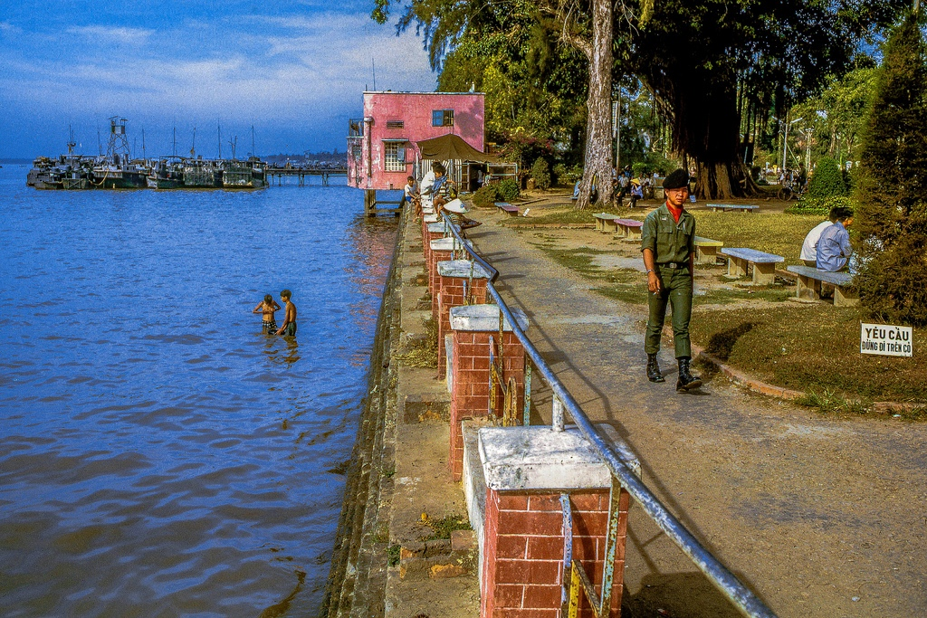 The public park fronting on the Mekong River at the southeast corner of My Tho. (Dinh Tuong Province, Vietnam, in the year 1969).