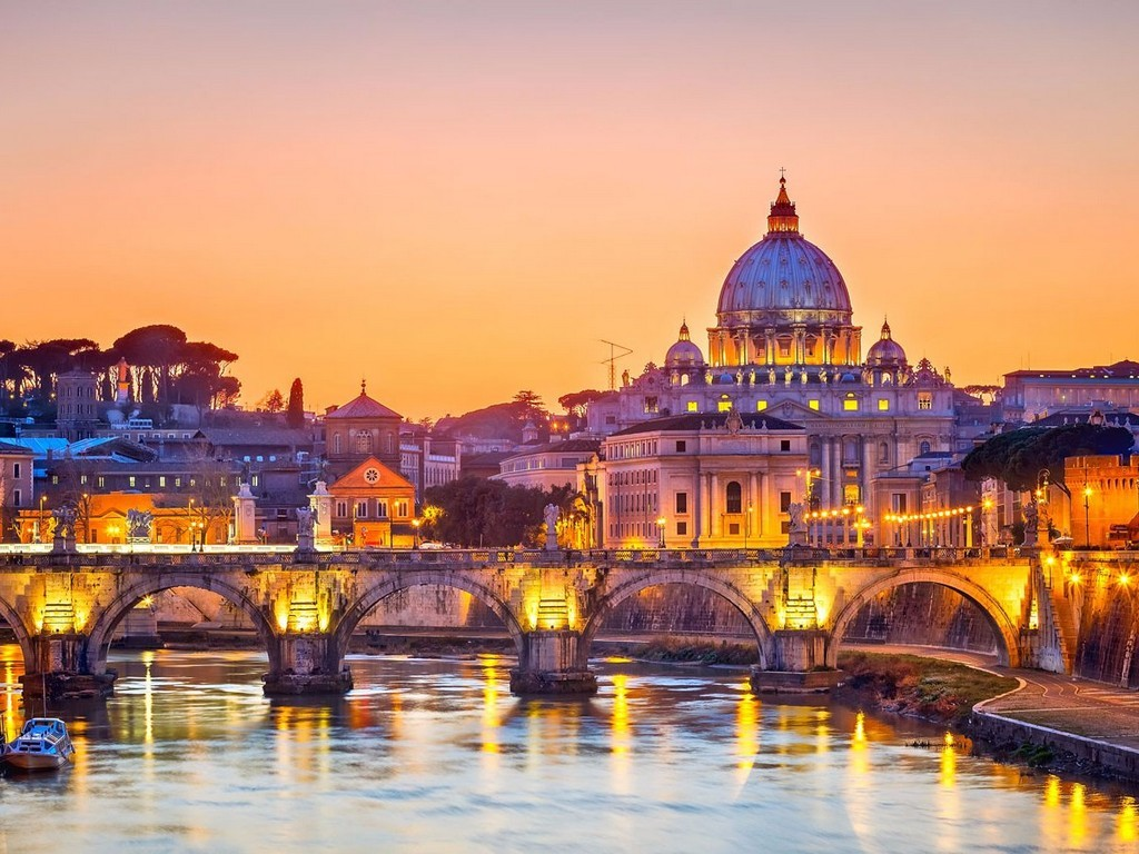 The sunset in Rome, Italy