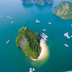 "Ha Long Bay — The context of the movie ""Kong: Skull Island"" from above."
