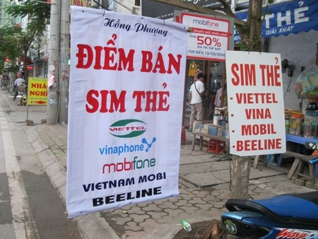 SIM card stores like this appear everywhere in Vietnam