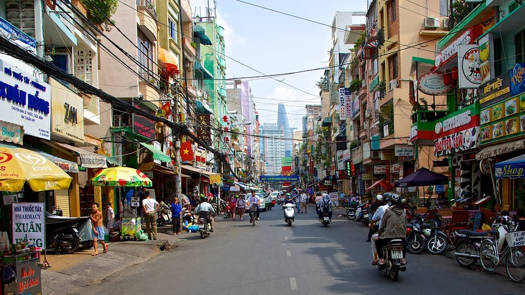 Walking along Saigon's street