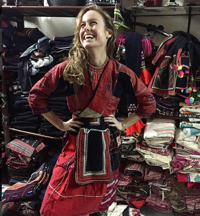 Brie Larson tries out the traditional costume of Hmong, an ethnic minority in Vietnam, at the set of 'Kong: Skull Island' in Quang Binh, Vietnam, February 22, 2016. Photo: Instagram/brielarson