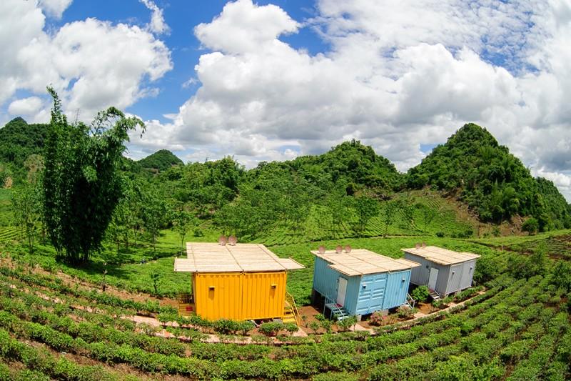 Colourful bungalow containers of Moc Chau Arena Village. Photo: mocchauarena.com