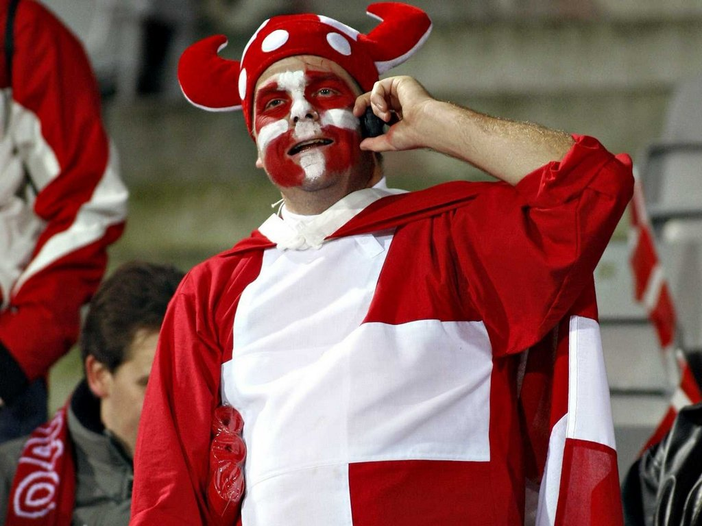 A soccer fan of Denmark speaks on the phone inside the stadium before their Euro 2008 Group F qualifying soccer match against Spain in Arhus, Denmark, October 13, 2007.