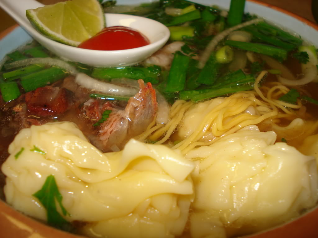 egg noodle soup with wontons