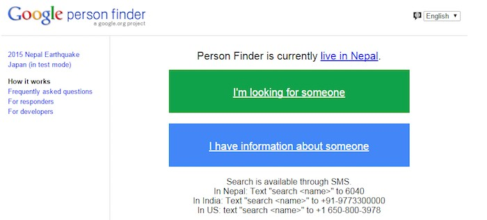 japan emergency call google person finder
