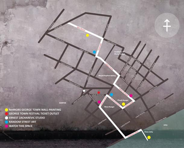 "Custom Google Map ""Street Art of George Town, Penang"""