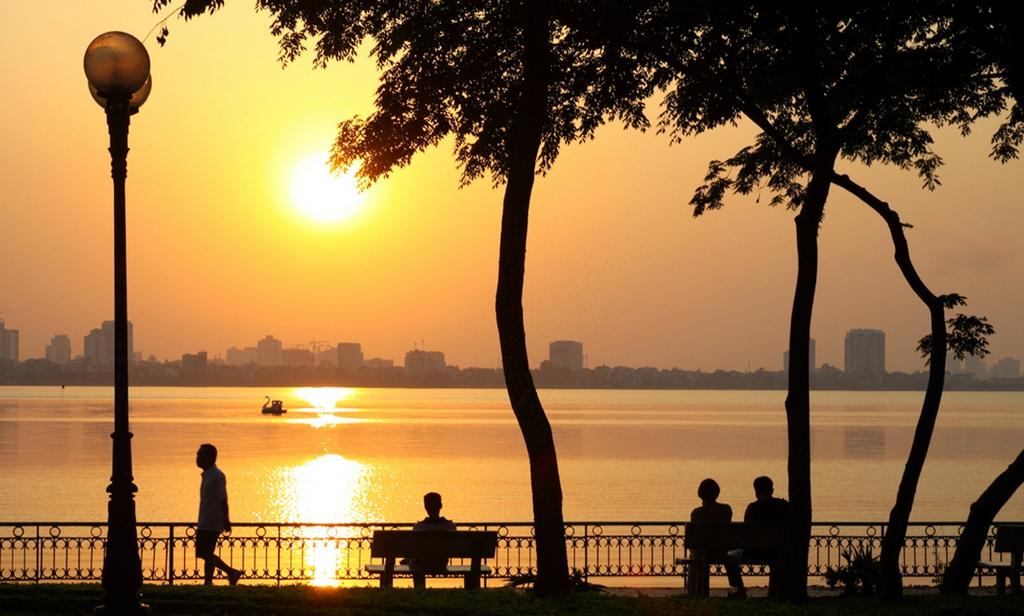 sunset at ho tay west lake hanoi yrr