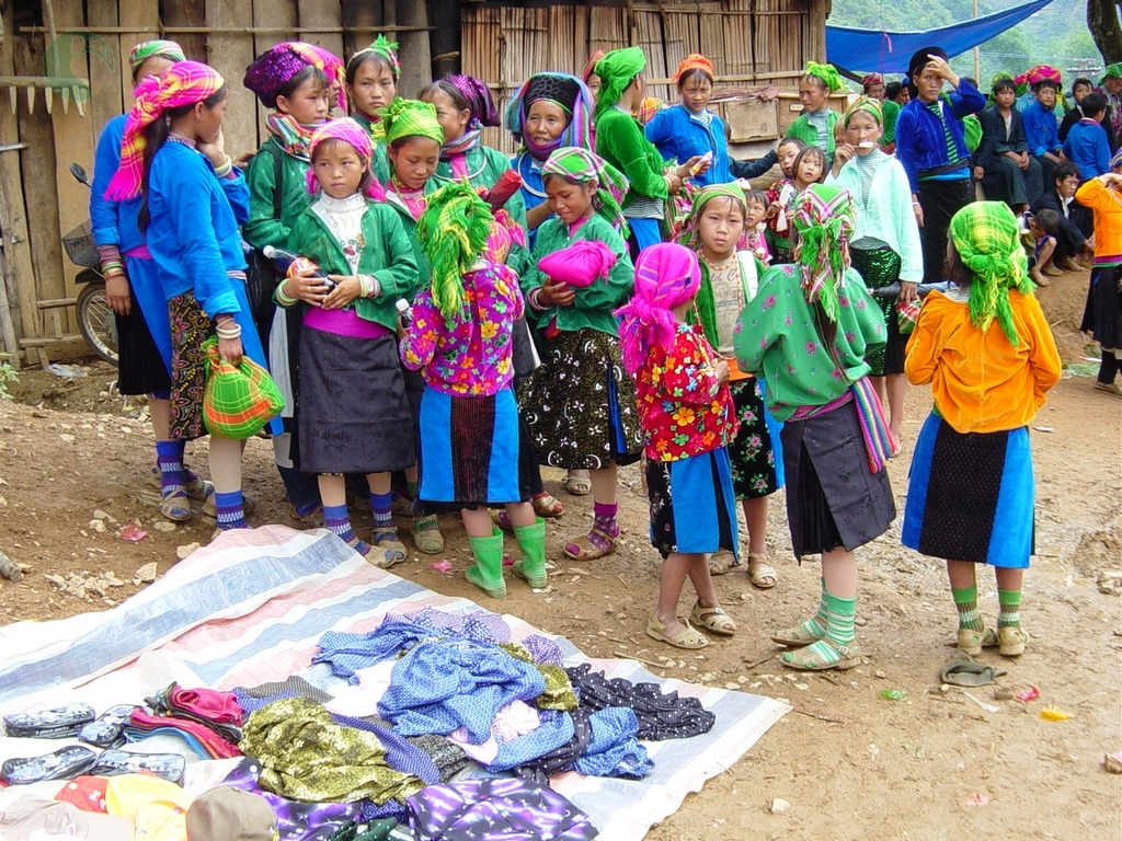 The brocade skirts of ethnic minority women in Ha Giang.