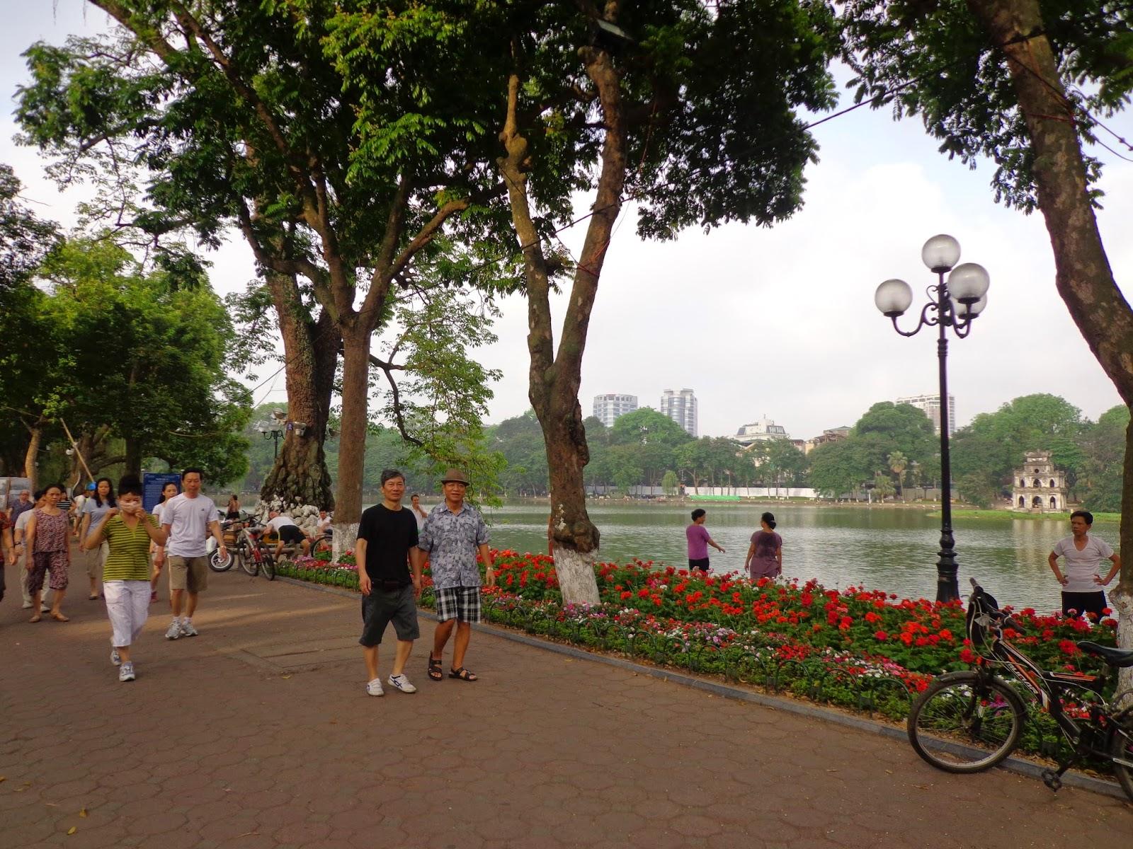 walking around hoan kiem lake sword lake hanoi vietnam 5