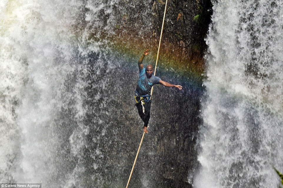 "The daredevil said the intense noise of the water made him feel a little nervous but described the experience as ""magic"". Image by Caters News Agency"
