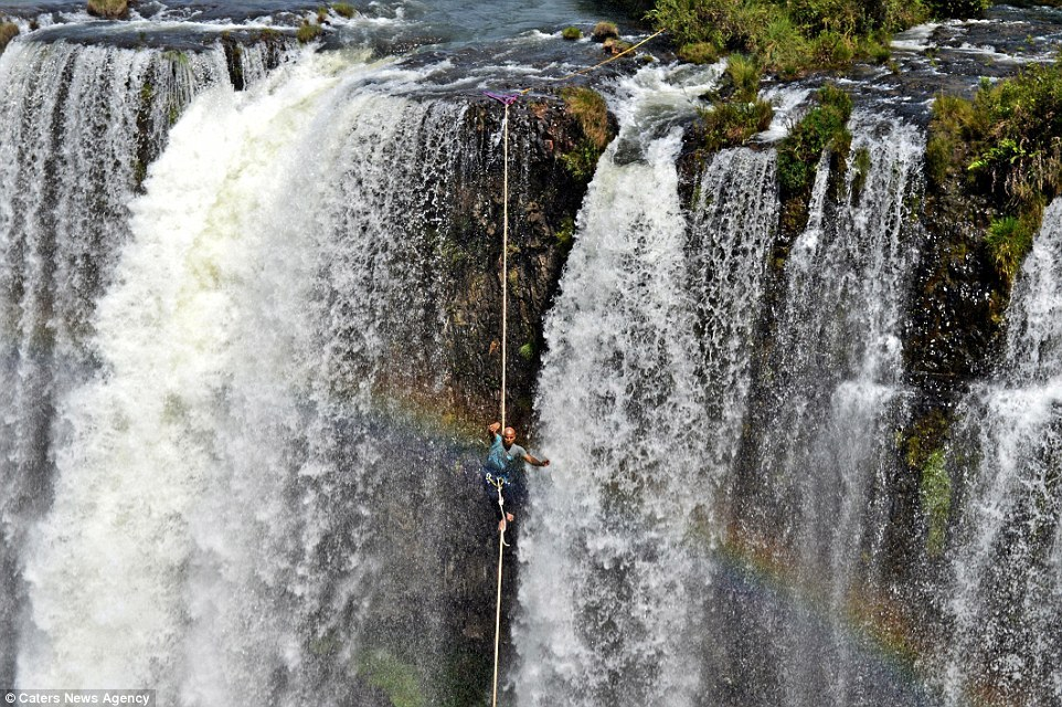 The 1115ft (340m) waterfall is located in Bahia, in Brazil, and is one of the country's highest waterfalls. Image by Caters News Agency