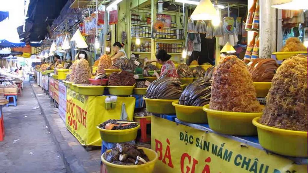 An giang Chau Doc salted fish and seafood market Vietnam tourist attraction travel guide