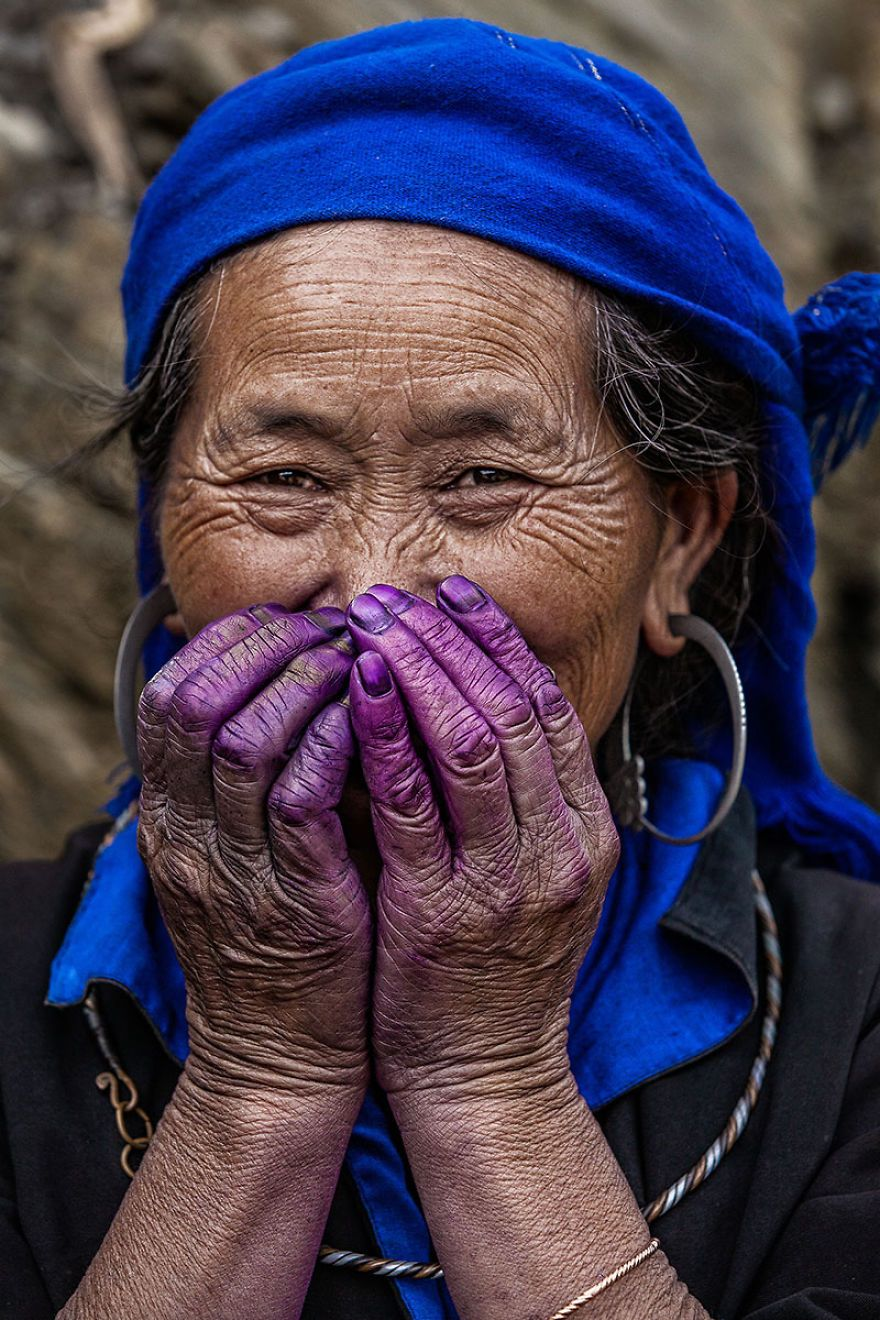 Elder Lady Hmong With Purple Dye On Her Hand