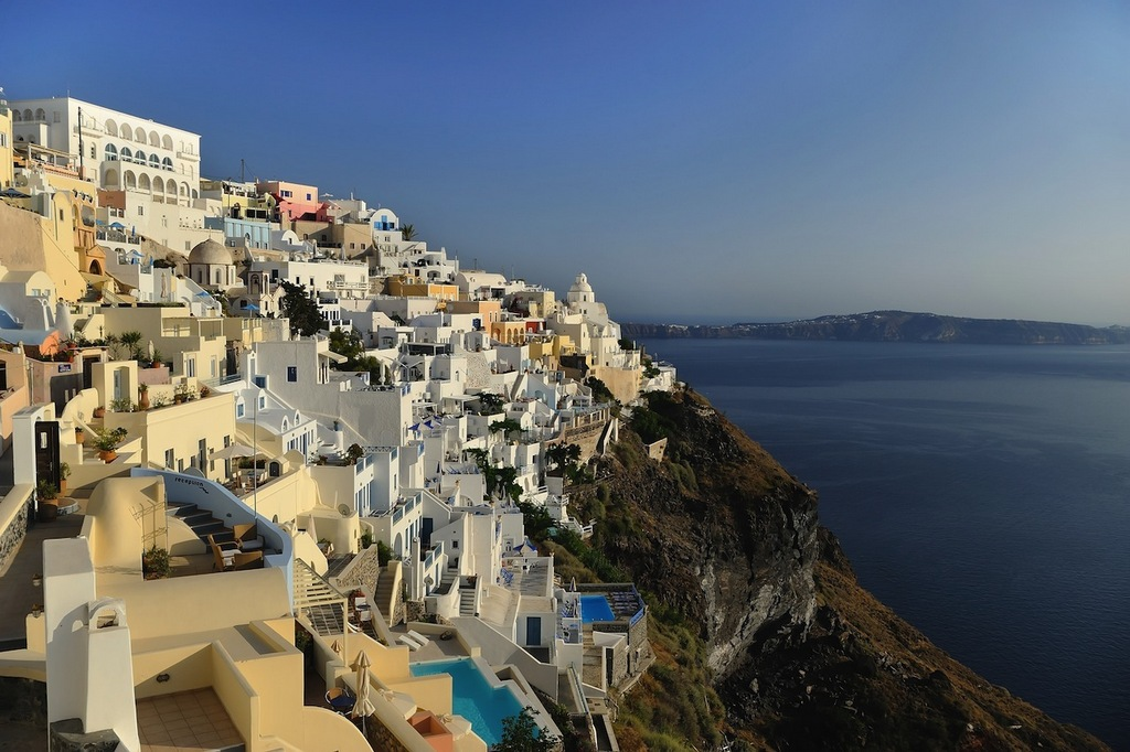 Fira is a capital of the island where was crowed resident. Photo: foundthewworld