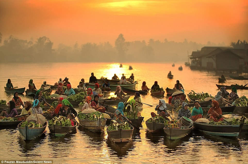 Lok Baintan Floating Market in South Borneo, Indonesia