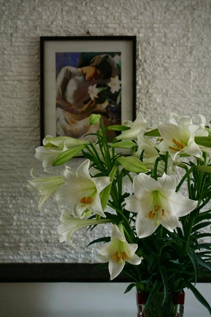 Madonna lily flowers in Hanoi streets