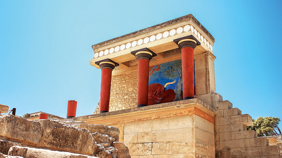 he place of interest in Crete is Knossos Palace. Photo: amirandes