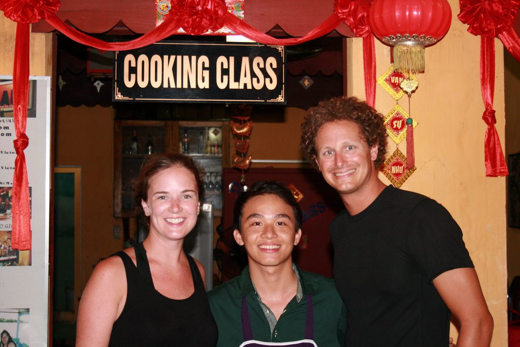 Two tourists with their instructor after the cooking class Photo: fatgirldoestheworld