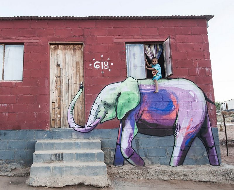 Elephant Street Art In South African Villages