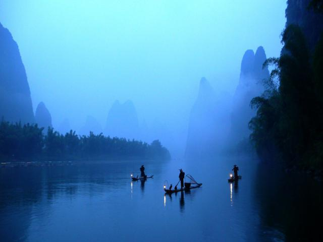 fishing by cormorants in li jiang river china