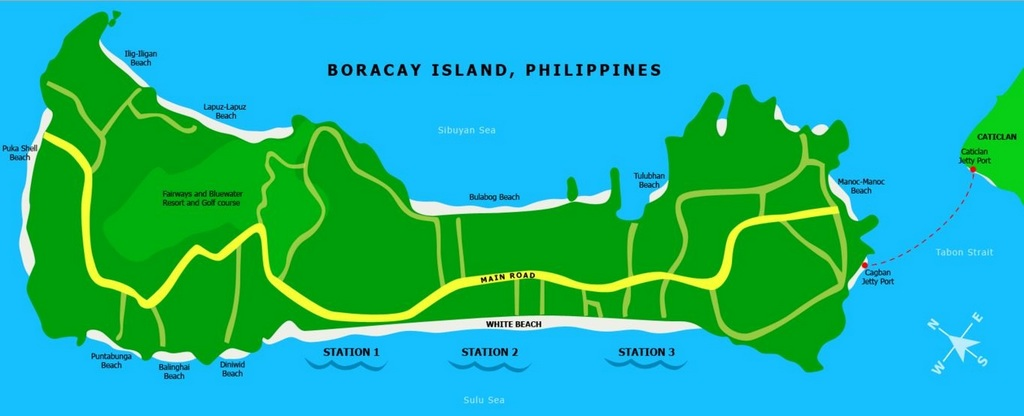 Map of stations and beaches on Boracay island. Photo: etatravelandtours.com