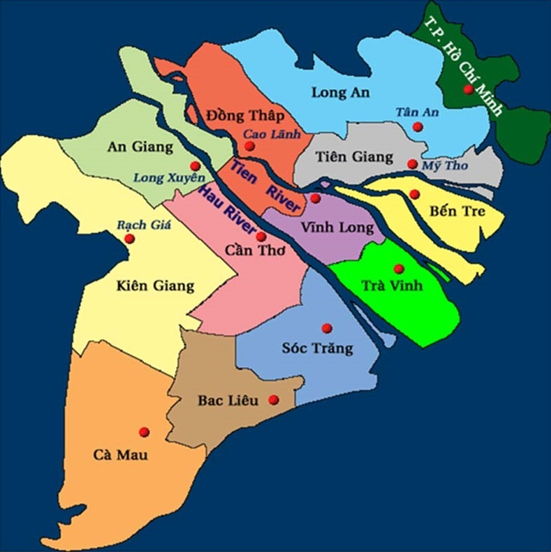 A map of provinces in the Mekong Delta. Photo: vawr.org.vn